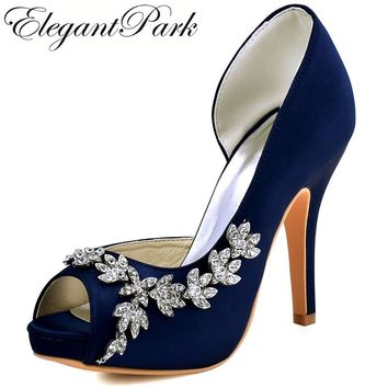 Delicieux Woman High Heel Platform Bridal Wedding Shoes Navy Blue Purple Peep Toe  Rhinestones Satin Bridesmaids Lady
