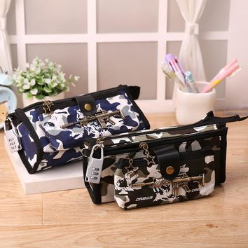 Boys School Pencil Case CF Pen Bag Student Stationery Camouflage Pencil Bag Box School Supplies with Code Lock Camouflage bags