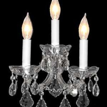 "Swarovski Crystal Trimmed Chandelier! Maria Theresa Wall Sconce Lighting H11.5"" X W14"" - A83-SILVER/3/2813SW"