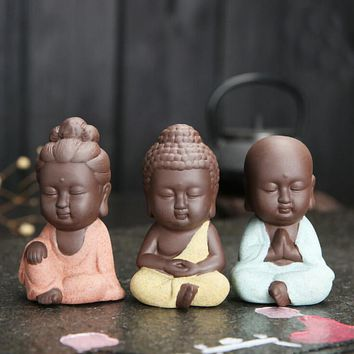 1 PC New Small Buddha Statue Monk Figurine India Mandala Tea Ceramic Crafts Home Decorative Ornaments Miniatures