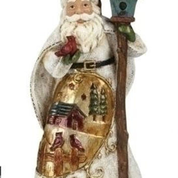 Santa Claus Christmas Figure - Features Red Cardinals And Bird House