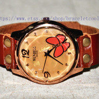 Retro style watch,Butterfly wrist watch bracelet, Brown Leather Bracelet Watch, Handmade Women's Watch, Men Watch CP61