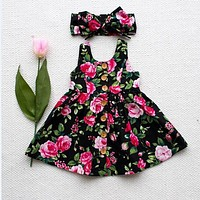 2017 Toddler Kids Baby Girls Sleeveless Headband Princess Floral Sundress Summer Dresses Clothes 6M-4T