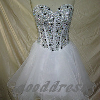 2013 sexy white sweetheart  crystal beaded zipper back A Line piping short homecoming party dress cocktail prom dress gown