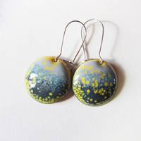 Gray and yellow round drop earrings Enamel disc dangle earrings Gift Ready to ship enameled jewelry
