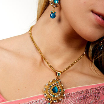 Blue Kundan Necklace and Earrings Set