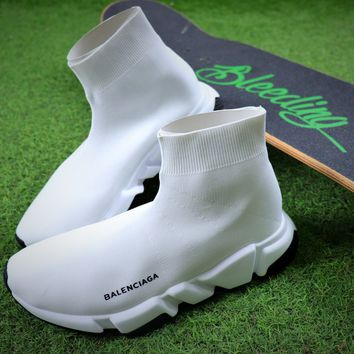 Balenciaga Speed Stretch Knit Mid Sneakers White Socks Shoes - Best Online Sale