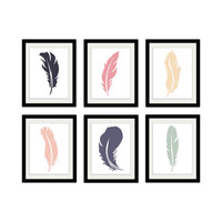 "Feathers. Set of 6. Rustic. Tribal. Shabby Chic. Home Decor. Vintage. Bedroom Decor. 8.x11"" Prints."