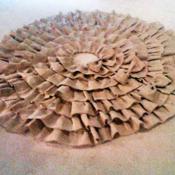 "Large Burlap Ruffled Christmas Tree Skirt , Sewn  63"" Tree Skirt, Natural Burlap Layered, 3 Bows, Rustic Holiday, Lined"