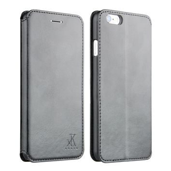 For Apple iphone 6 6s Leather Case,4.7 inch Protective Folio Case Flip Cover Back Stand(Black)