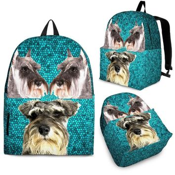 Miniature Schnauzer Dog Print Backpack-Express Shipping