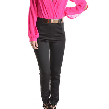 (ang) Long sleeves V neck hot pink and black jumpsuit