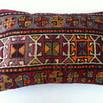 Hand Woven Turkish Old Rug Pillow - Modern Bohemian Home Decor - Decorative Pillow - Kilim  Pillow  23 x 15 Inch - FAST SHIPMENT