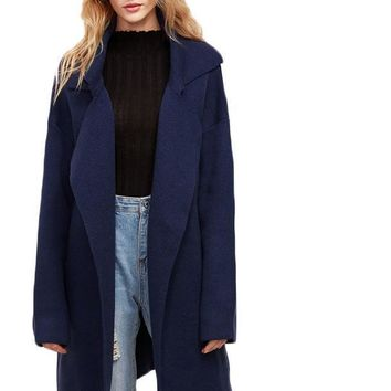 SheIn Winter Coats Women Navy Notch Collar Drop Shoulder Pocket Long Sleeve Oversized Outwear Casual Sweater Coat