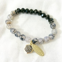 Signature Gold Tag and Faux Druzy Semi Precious Stone 8mm Crystal Faceted Bead Rhinestone Grey Black Marbled