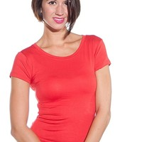 8 of Hearts Keep It Basic Short Sleeved Top - Red