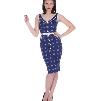 Voodoo Vixen Blue Nautical Print Pencil Dress
