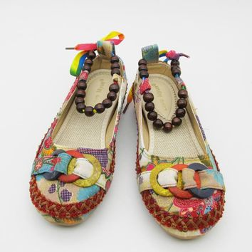 Bohemian beaded ankle strap flats with hemp insoles ~ 4 designs