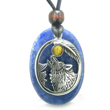 Amulet Courage Howling Wolf Moon Charm in Sodalite and Tiger Eye Eye Pendant Necklace