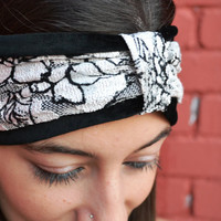 Black And White Turban Velvet And Lace Headband Winter Bandana