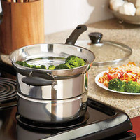 4-Pc Stainless Steel Steam and Strain Pot Pan Set Cooking Kitchen