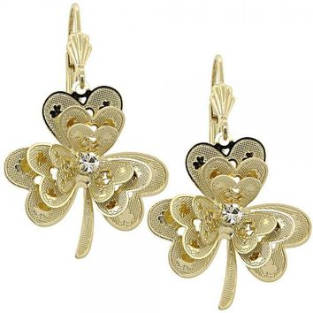 Gold Layered 02.63.0439 Dangle Earring, Flower Design, with White Cubic Zirconia, Diamond Cutting Finish, Gold Tone