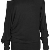 Hot Hanger Women's Flared Loose Oversized Round Neck Rrregular Poncho Tunic Top