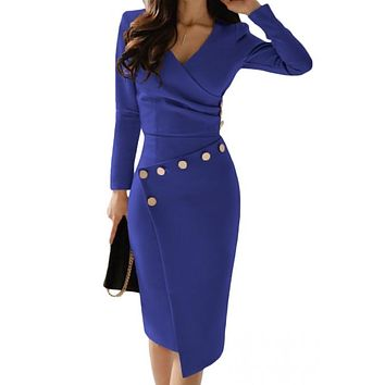 Chic Asymmetric Button Detail Biue Ruched Midi Dress