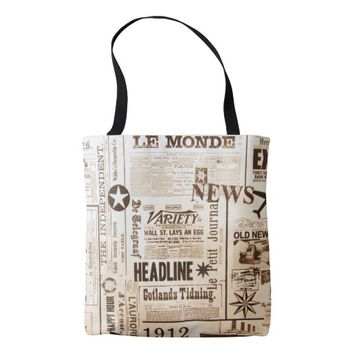 Vintage Newspaper Typography Old Ads News Tote Bag