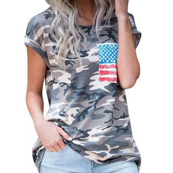 Camouflage Shirts Women Fashion Summer Tops Ladies Short Sleeve Casual T-Shirt Women's Cropped Feminino T-Shirt With Pocket #LH
