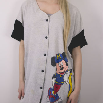 Vintage Mickey Mouse Button Up T Shirt