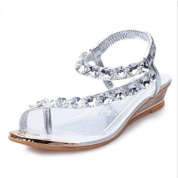 Womens Silver Rhinestone Slip on Sandals
