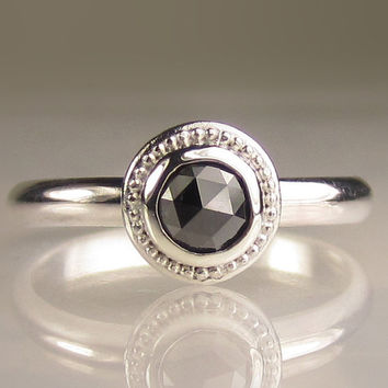 $215.00 Granulated Rose Cut Black Diamond Ring by JanishJewels on Etsy