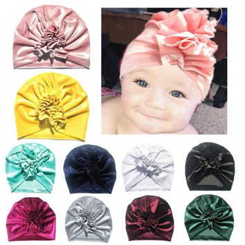 11 Colors Flower Baby Girl Velvet Hats Kids Turban Pure Candy Color Ruffle Beanie Hat  Baby Winter Warm Cute Cap Headwrap Hats