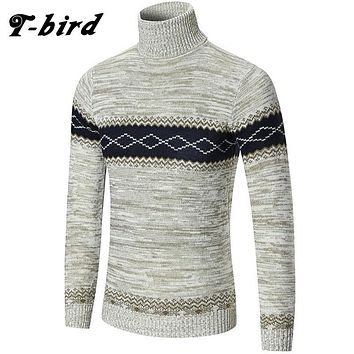 T-Bird 2017 New Autumn Brand Clothing Men Sweater Stripe High Collar O-Neck Slim Fit Casual Pullover Men Sweaters Knitting Mens