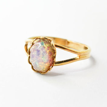 Fire Opal Ring - Opal Jewelry - Adjustable Ring - Vintage Opal Cabochon - Harlequin - Stacking Rings
