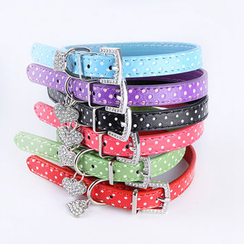 Hot Bling Crystal Pendant Leather Pet Dog Personalized Collars Puppy Cat Choker Necklaces Rhinestone Customized Diamond  XS M L