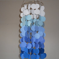 Shades of Blue floating circle paper Mobile. Wedding, Engagement, Baby shower, Baby nursery, Crib mobile. Birthday.  Choose Your Colors!