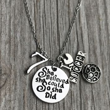 Girls Soccer She Believed She Could So She Did Necklace with Number Charm