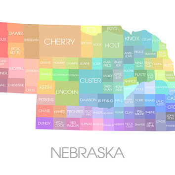 Nebraska State Map - Custom Print