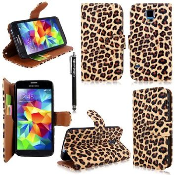 Cellularvilla Wallet Case for Samsung Galaxy S5 Brown Leopard Pu Leather Wallet Card Flip Open Pocket Case Cover Pouch