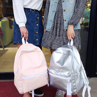 2016 Women PU Backpack Handbag Travel Satchel School Rucksack Silver Pink New