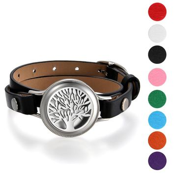 SHIPS FROM USA 2017 leather wrap bracelet 25mm Stainless Steel Essential Oil Diffuser Life Tree Locket Aromatherapy( 8 pads For Free)