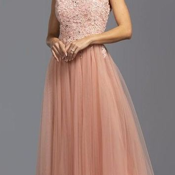 Cap Sleeves Long Formal Dress Appliqued Bodice Dusty Rose