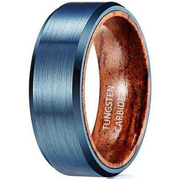 CERTIFIED 8mm Blue Brushed Tungsten Red Sandal Wood Inlay Wedding Band Ring Men's Jewelry