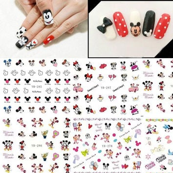 1 Lot = 12 Sheets Different Mickey Minnie Pattern Water Nails Transfer Decal Stickers Fashion Lovely Cartoon Sticker YB277-288