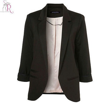 Women Black Slim Brief Blazer Notched 3/4 Sleeve Pockets Open Front Blazers Coats 2017 New Fashion Elegant OL Formal Wear