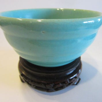 Bauer Blue Ring Ware American Pottery Signed Ceramic Bowl