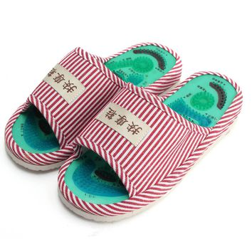 Women Summer Foot Acupoint Massage Cotton Shoes Lady Foot Health Care Magnet Slippers
