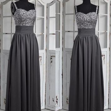 Long Gray Spaghetti Straps Beaded Prom Dresses,Long Chiffon Bridesmaid Dresses,Long Formal Party Grown ,Homecoming Dresses